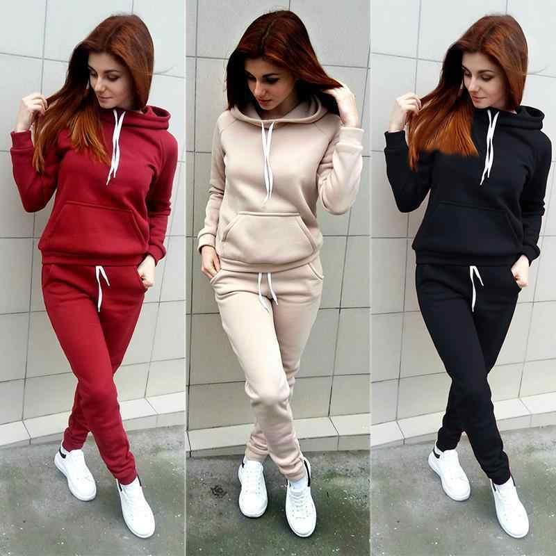 2019 New Autumn and Winter Leisure Suit Ladies Hooded Sweater Sports Suit Women's Fashion Large Size Two-piece