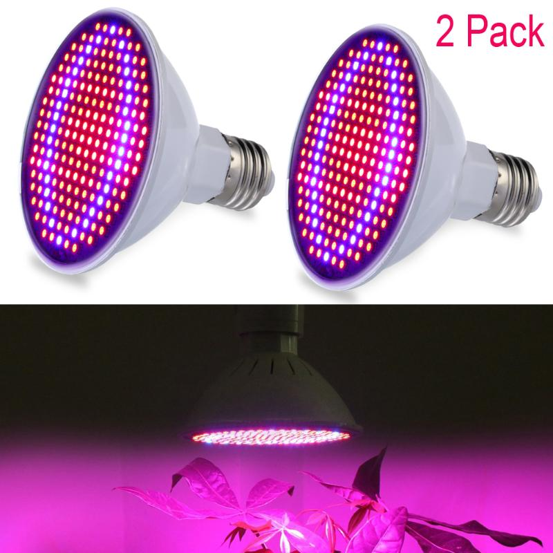 2pcs Full Spectrum 24W SMD E27 LED Grow Lights LED Horticulture Grow Light for Garden Flowering Plant and Hydroponics System 1pc led grow lights e27 15w 3 red 2 blue for flowering plant and hydroponics greenhouse led lamp full spectrum free shipping