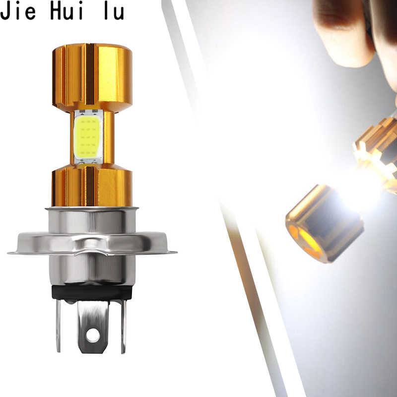 New High Quality 1Pcs H4 18W LED 3 COB Motorcycle Headlight Bulb 2000LM 6000K Hi/Lo Beam Light White Light