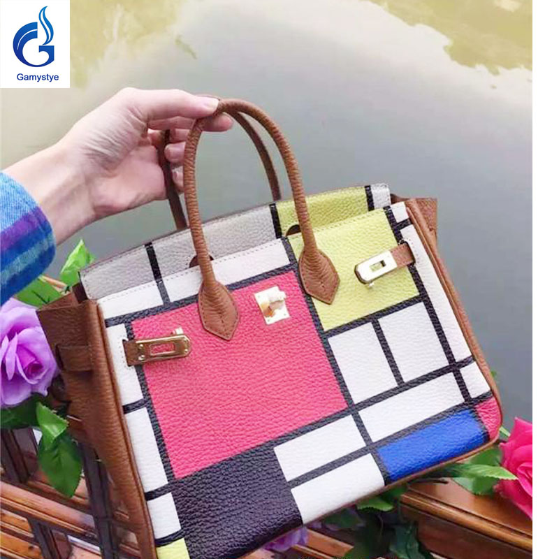 Genuine Leather Custom Graffiti Women's Handbags luxury handbags women bags designer Hand Painted Plaid Crossbody Bolsas Totes