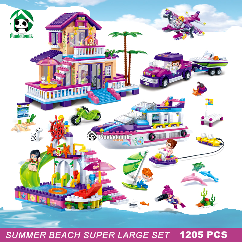 Super Large 1205pcs Summer Beach Building Blocks Set Dolphin Cruiser Friends Toys for Girls Brinquedos Bricks Compatible lepin kazi 608pcs pirates armada flagship building blocks brinquedos caribbean warship sets the black pearl compatible with bricks