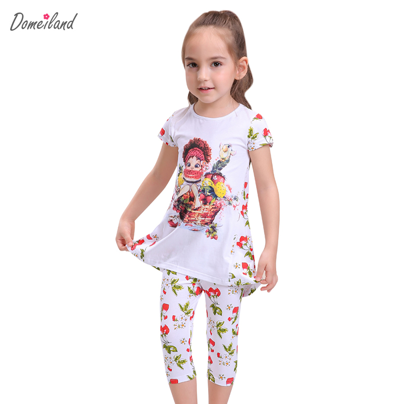 2017 fashion summer brand domeiland children clothing girls outfits sets short sleeve cartoon shirts floral pant