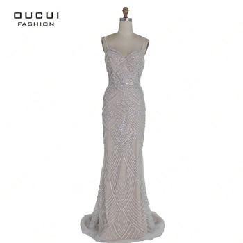 Dubai Luxury Sleeveless Mermaid Evening Gowns 2019 Newest Sexy Diamond Beading Gray Women Dresses Long Party Prom Dress OL103369 5