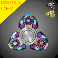 New Russian CKF Colorful Tri-Spinner Fidget Spinner Metal EDC Hand Finger Spinner For Autism/ADHD Anxiety Stress Relieve Toys