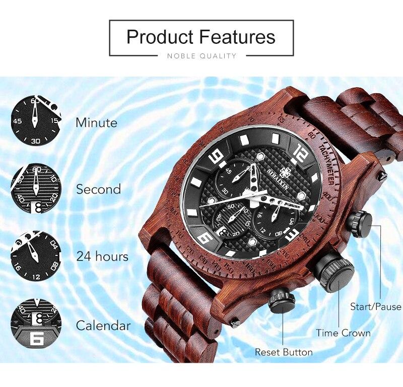 SIHAIXIN New Men's Walnut Wooden Waterproof Sport Watch 11