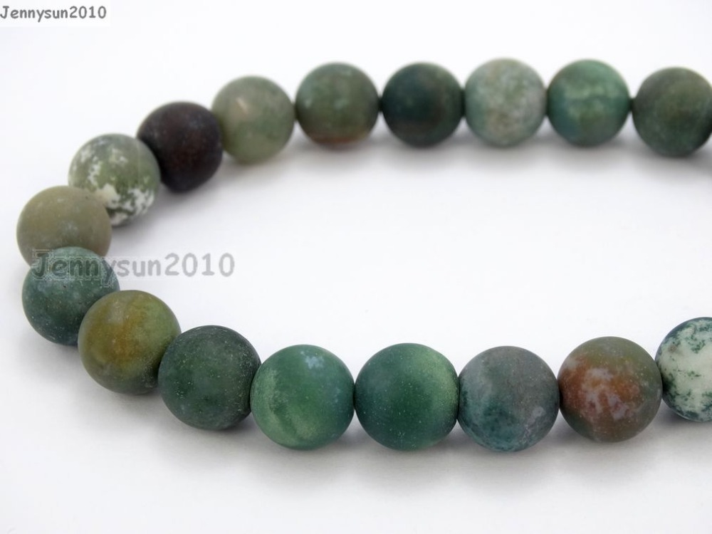 "Natural Matte Indian Agate 10mm Frosted Gems stones Round Ball Loose Spacer Beads 15""   5 Strands/ Pack"