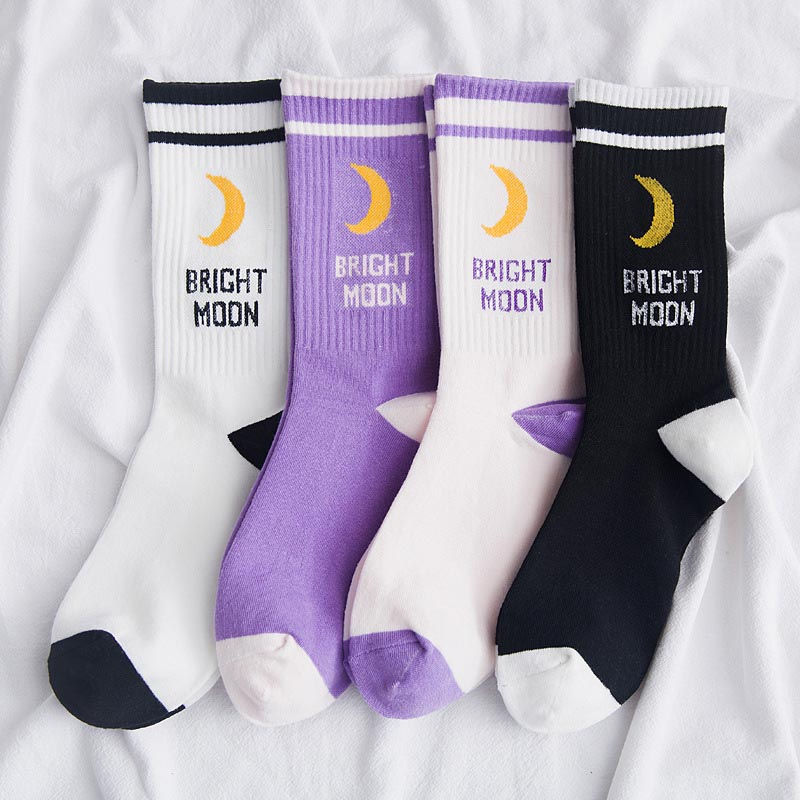 Men Women Harajuku Hip Hop Autumn Elastic Rib Trim Long Crew   Socks   New Moon Letters Stripes Printed Couples Cotton Tube Hosiery