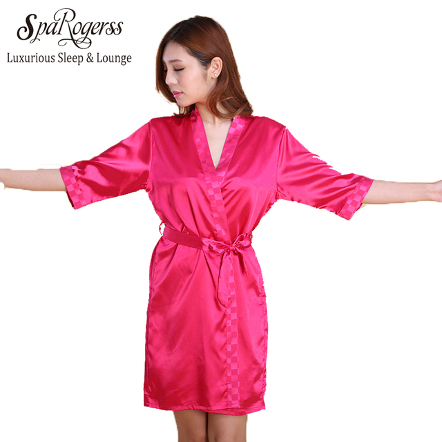 Yao Ting Top Women Robe Gown Set 2017 Summer Sleep Lounge 2 Piece Satin Luxury Lady Sexy Female Solid Color Robe  Set