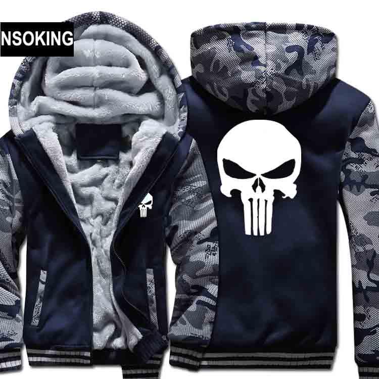 Winter Warm The Punisher Hoodies Casual skull Hooded Coat men cardigan Thick Zipper Jacket Sweatshirt