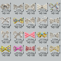 Factory Sales 100pcs/Lot Bow nail art Clear Rhinestones Crystal Bow tie alloy bow knot Nail Decorations Accessories 20 Designs