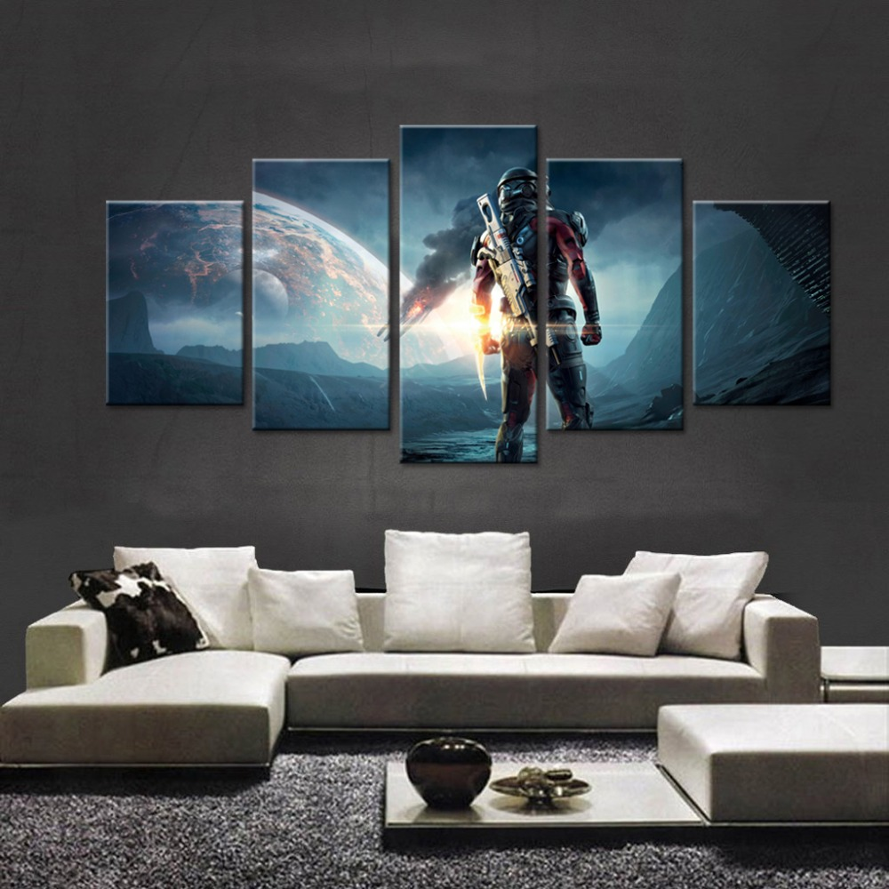 Cheap Modern Paintings Video Game Mass Effect Andromeda Large Wallpaper High Definition Canvas Print 5 Art Kids Room Wal