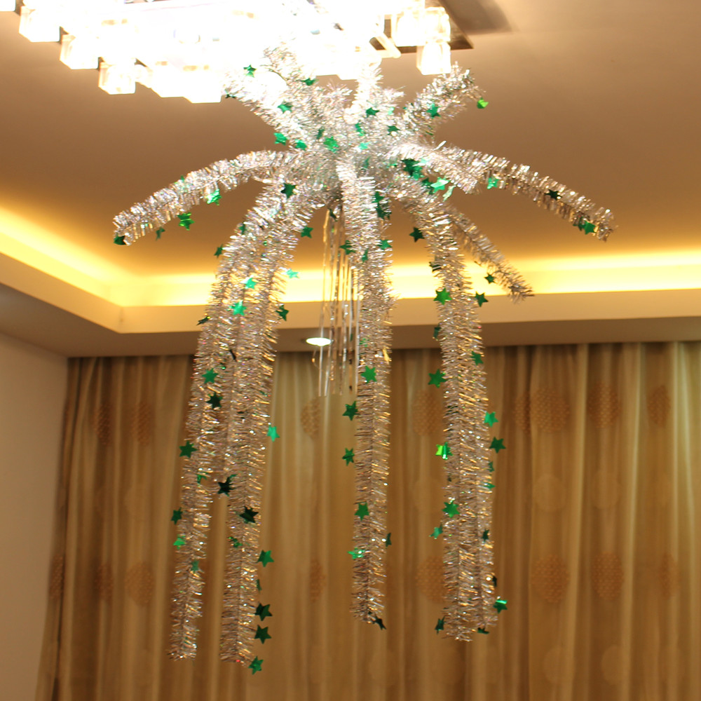 Christmas decor to hang from ceiling - Aliexpress Com Buy Holiday Ceiling Hanging Decoration New Year Christmas Sequins Flower Basket Drizz Silk Rain Plastic Snow Tree Ornament Free Ship From