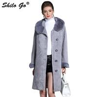 Fur Coat Womens Winter Fashion Merino sheep fur long coat real Mink fur collar leather belt button Grey warm fur coat