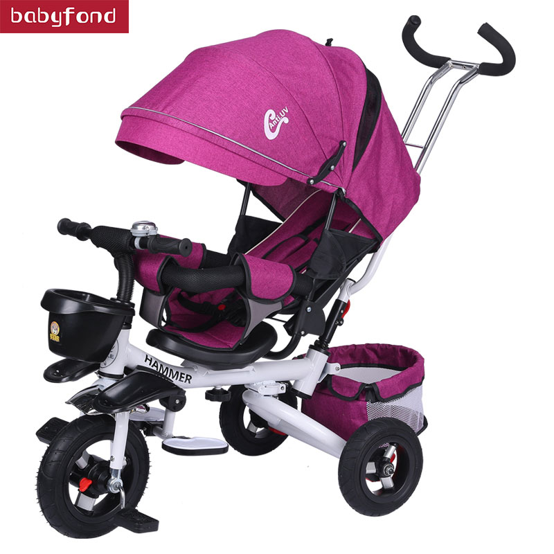все цены на Baby tricycle One-click folding children's tricycle rotating seat 1-5 years old baby stroller can carry bike онлайн