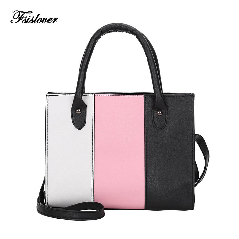 2018 New Fashion Women Leather Handbags Casual Striped Panelled Tote bags Crossbody Bag TOP-handle bag Women Shoulder Bag Sac adyce 2018 new fashion spring women sets striped top