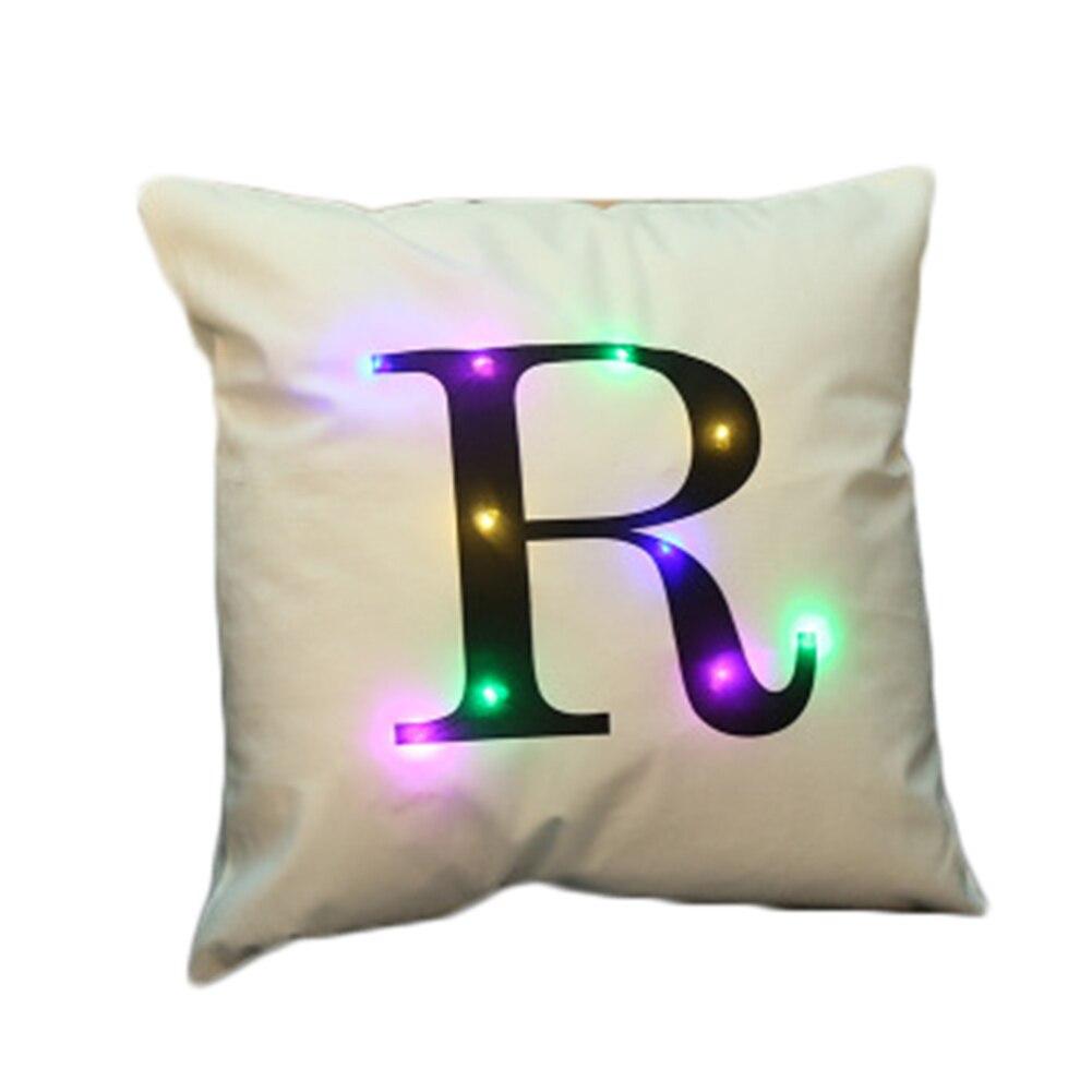 2017 45*45 см Glow светодиодной подсветкой Подушки детские печатные буквы Подушки декоративные кровать подушки almofadas cojines наволочка Y10
