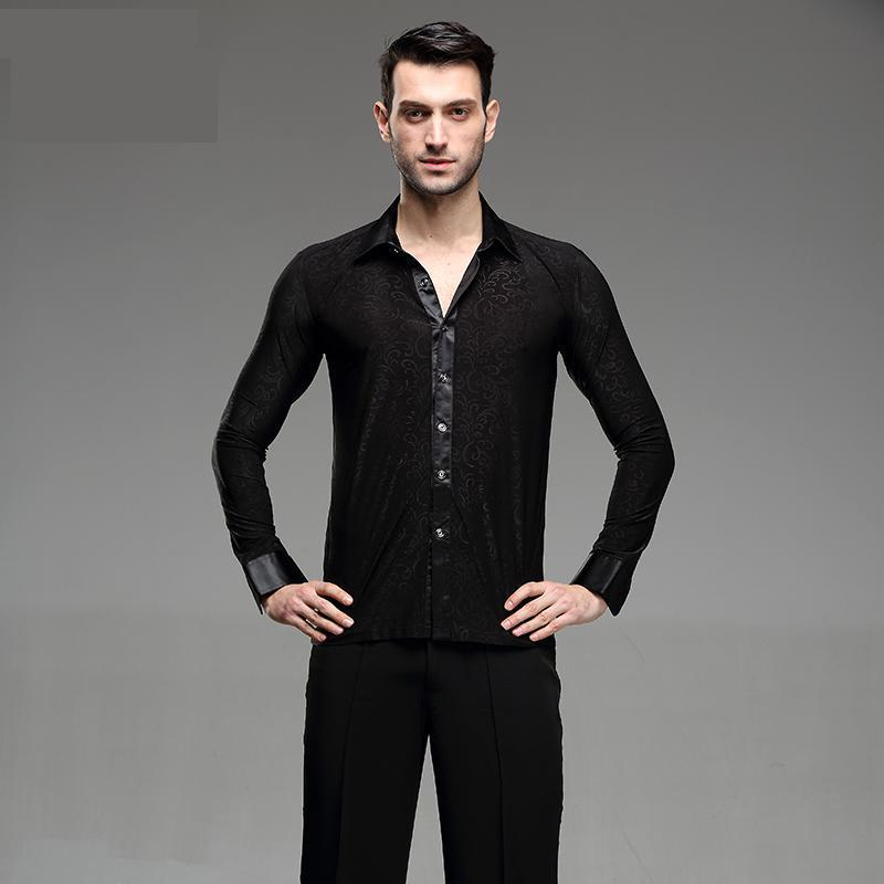 Men Tops Latin Dance Shirt Ballroom Modern Tango Samba National Standard Competition Performance Long Sleeve Dancewear Tops