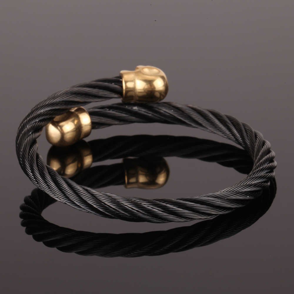 Mcllroy Wire Men Bangle steel Bangle Man's Girls Silver/Gold Tone Bracelet Twin Skull Charms Bangle christmas men jewelry 2019