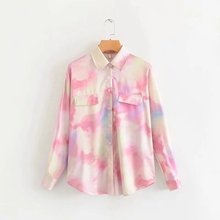 COZARII blusas mujer de moda 2019 autumn women casual style tie-dyed turn-down collar kimono blouse womens tops and blouses