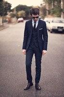 2017 New Fashion Dark Navy Groom Wear Tuxedos Wedding Suits Groomsmen Best Man Jacket Pants Vest