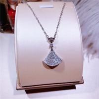 Горячая распродажа! Настоящее стерлингового серебра 925 микро-инкрустация стразами сектора окаймленное ожерелье ювелирных изделий высоког...