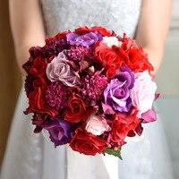 Yapay Şakayık Gül Gelin Buketi Şerit buque noiva branco Pembe Nedime Düğün İpek Çiçek bouquet de mariage