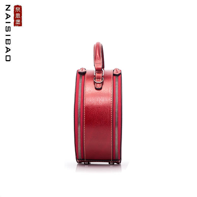 NAISIBAO Nieuwe Echt Lederen handtassen top Koeienhuid Retro Embossing vrouwen zakken kwastje Mode Luxe vrouwen lederen ronde tas - 4