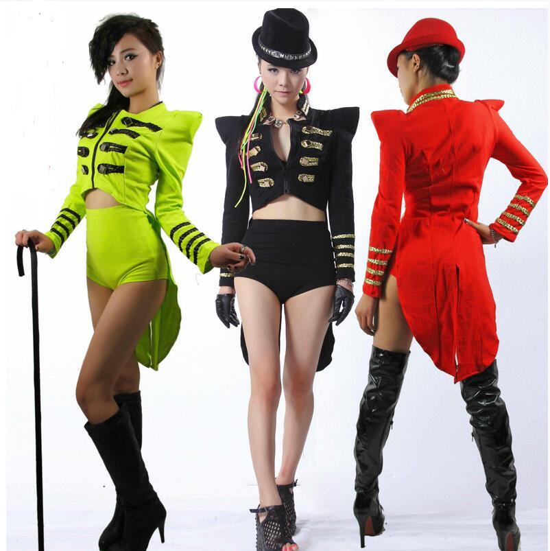 Dance Jazz Clothing Stage Dress Tuxedo Fashion Tuxedo Dj Female Singer Ds Costumes  Fashion Coat  Tail Performance Dancing Wear