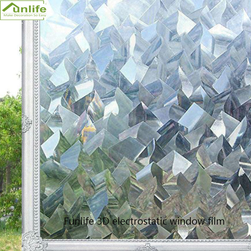 Funlife 30/45/60/75/90*300cm 3D static No-Glue decoration privacy window glass sticker irregular PVC waterproof window film image