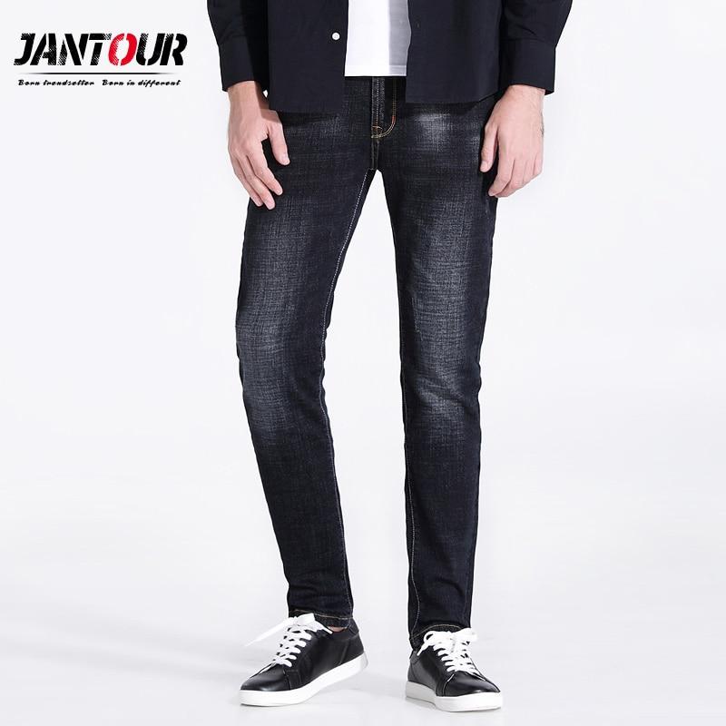 jantour 2017 high quality Brand clothing black jeans men embroidery cotton skinny Slim Casual Denim jean mans Pants Business mal