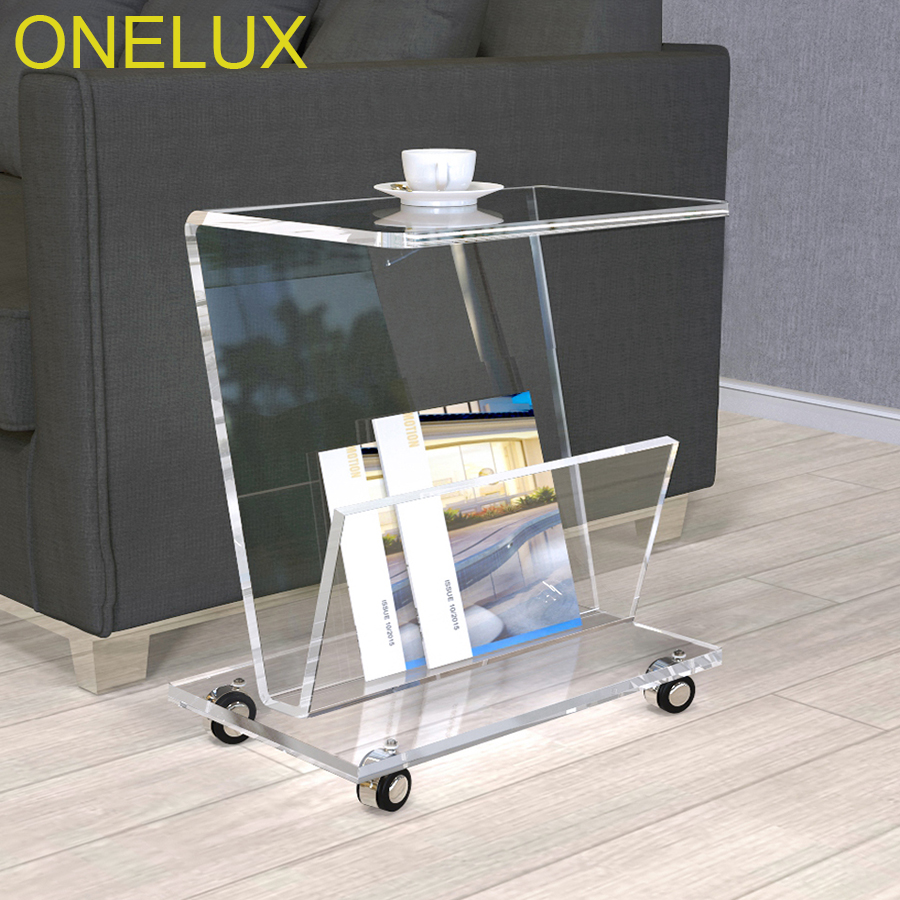 Rolling Acrylic Magazine/Book Cart,Lucite Sofa Side Tea Table On Wheels hollowed acrylic book magazine coffee tea table lucite plexiglass engraved side end sofa corner tables one lux