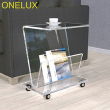 Rolling Acrylic Magazine/Book Cart,Lucite Sofa Side Tea Table On Wheels