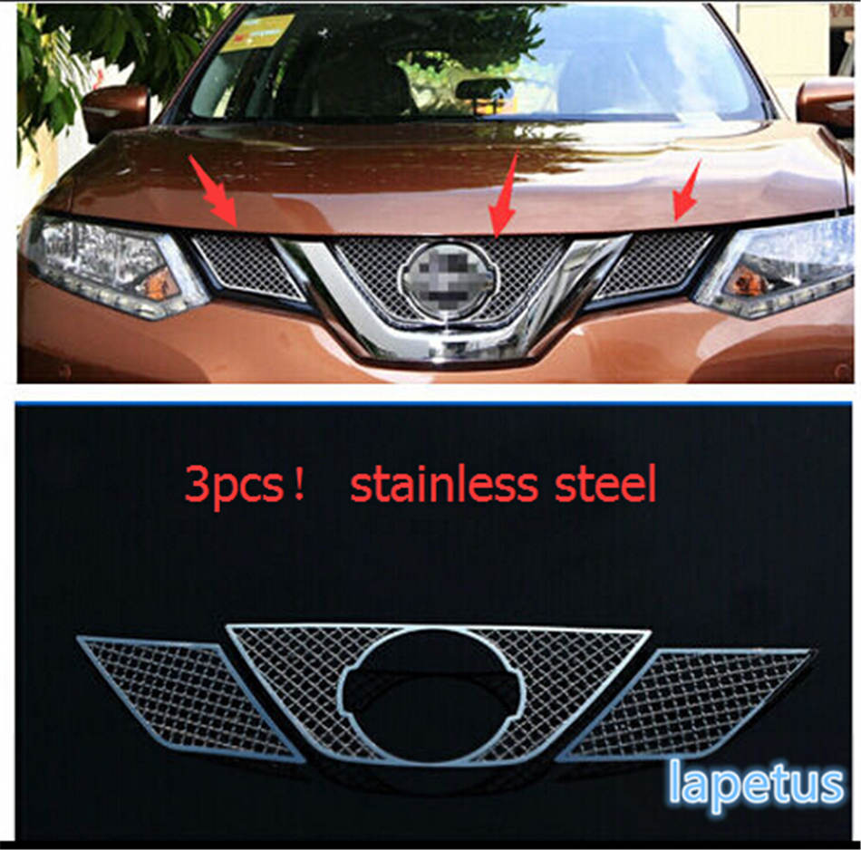 For Nissan X-Trail x trail T32 / Rogue 2014 2015 2016 Honeycomb Style Front Grille Grill Bezel Cover Cap Trim 3 Pcs / Set for nissan x trail xtrail t32 rogue 2014 2015 2016 abs chrome front engine machine grille upper hood stick lid trim lamp 1