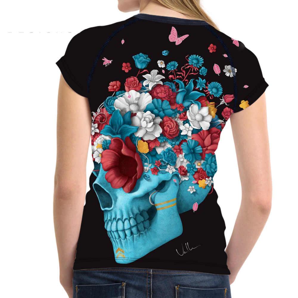 Noisydesigns Punk Skulls Printed Nữ Ngắn Tay Áo Alien T Áo Sơ Mi Mùa Hè Đàn Hồi Casual Top Tees Đối Với con Gái Nữ Harajuku Tees