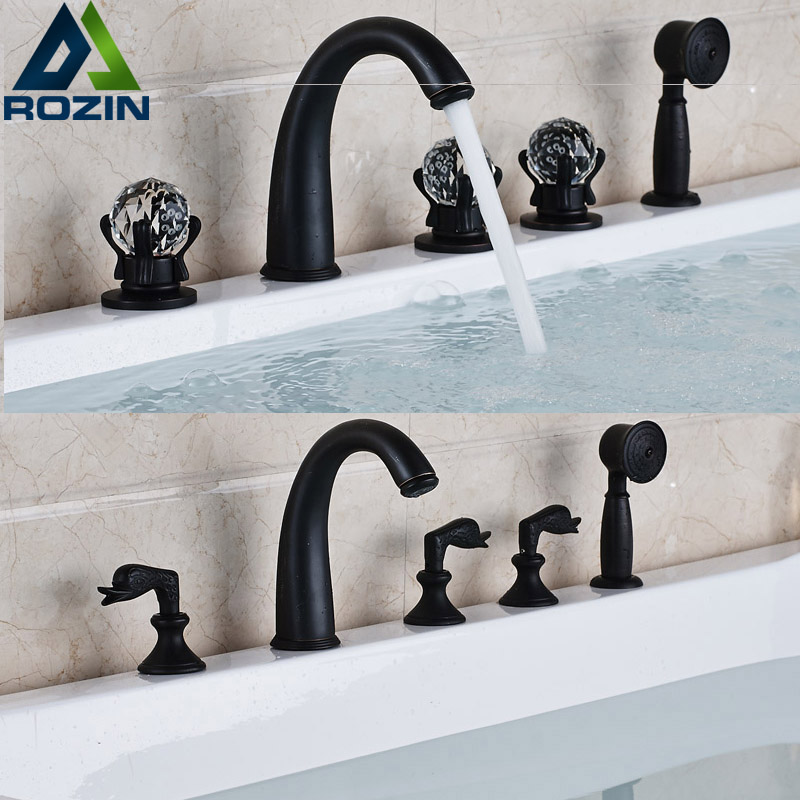 Newly 5pcs Deck Mounted Bath Faucet Set Three Handles with Handheld Shower Bathtub Mixer Taps Oil Rubbed Bronze