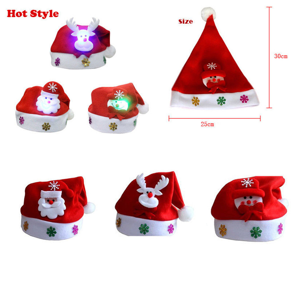 Top Christmas Gifts 2019 For Kids: New Year 2019 Kids LED Christmas Hat Santa Claus Reindeer