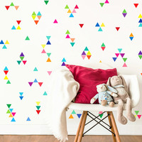 60pcs mixed multi 10 colors Triangles shape wall stickers for home decor,free ship