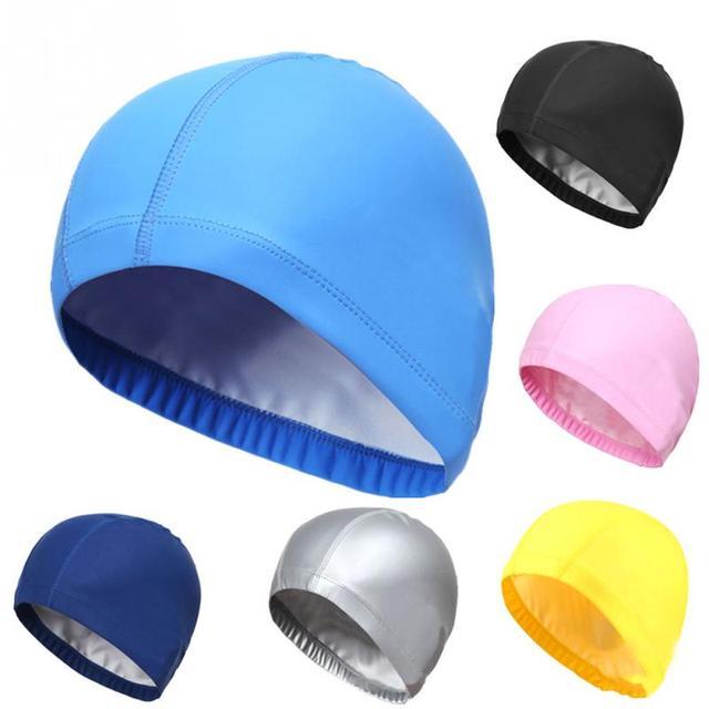 878b26a676e Elastic Waterproof PU Fabric Protect Ears Long Hair Sports Swim Pool Hat  Swimming Cap Free size