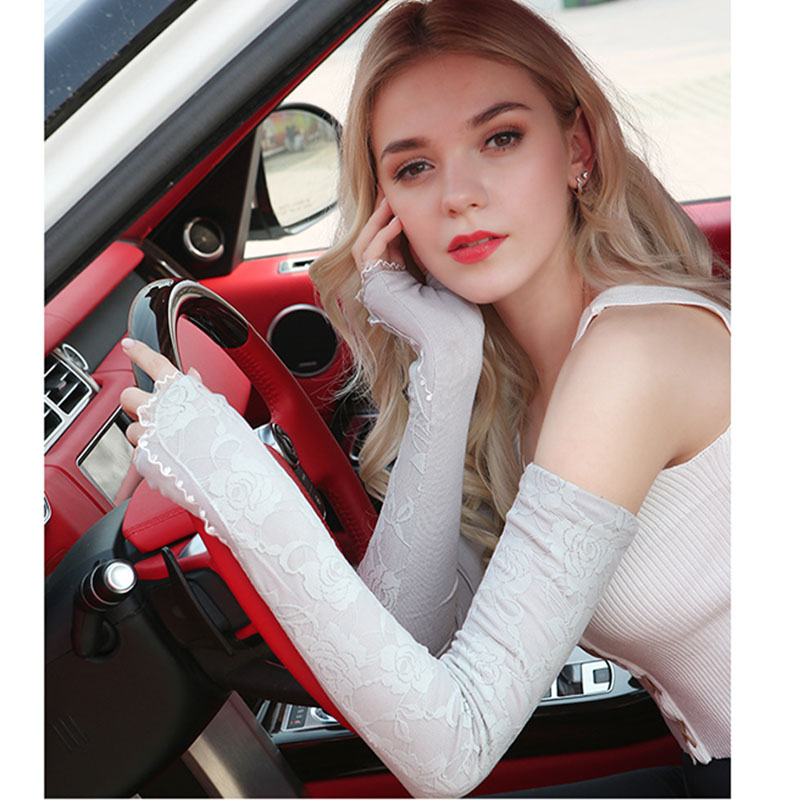 Sunscreen Gloves Women Summer Ultraviolet-proof Thin Ice Lace Sunscreen Sleeve Arm Sleeve Sleeve Long Drive