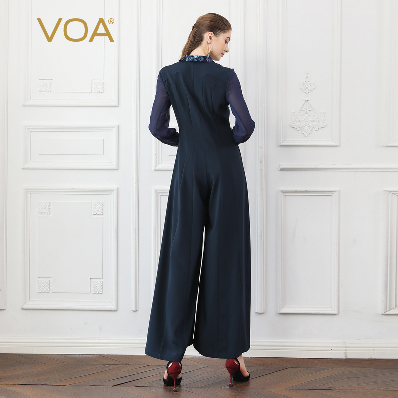 961ebaca48181a VOA Navy Blue Fall Mesh Long Sleeve Heavy Silk Jumpsuits Wide Leg Pants  Women Slim Blazer Collar Tunic Office Ladies Work K753-in Jumpsuits from  Women s ...