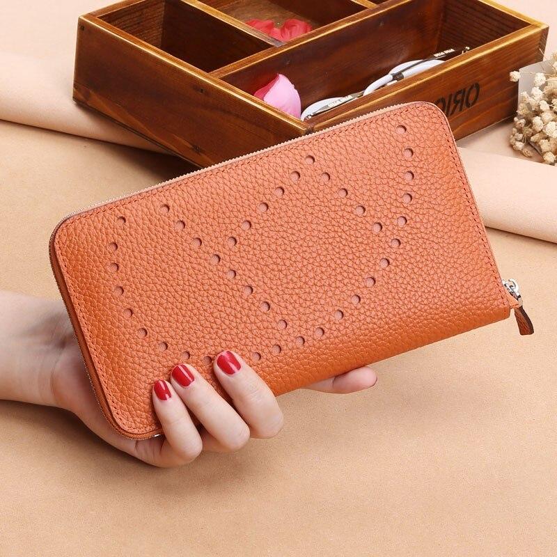 2018 Populaire Litchi motif femmes portefeuilles et porte-monnaie 100% Véritable en cuir Long sacs à dos pour ordinateur portable portemonnaie d'embrayage Coin Card Holder