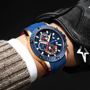 Image 5 - MINIFOCUS relojes deportivos de moda para hombre, reloj Masculino de cuarzo analógico con fecha, de silicona, militar, resistente al agua