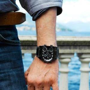 Image 4 - Montres homme Oulm montre Quartz décontractée bracelet en cuir montre bracelet sport homme multi fuseau horaire militaire montre homme horloge relogios