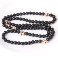 Thomas Style Black Matte Obsidian Beads Necklace Rose Gold Color Skeleton Skull Cool Men Jewelry Christmas Gift Wholesale 0.8cm