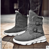 EXCARGO Snow Boots Men Sneakers Platform High Top Velvet Fur Ankle Boots For Men 2019 Winter Warm Cotton Padded Shoes Wedge Boot