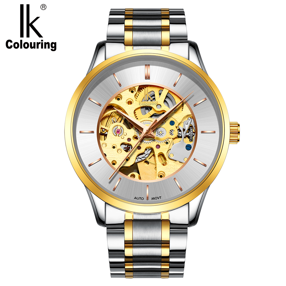IK Colouring 2018 Luxury Brand Designer Watch Men Golden Skeleton Mechanical Male Clock Automatic Wristwatch Relogio Masculino ik coloring bridge analog display mechanical male clock automatic wristwatch golden bezel skeleton watches relogio masculino