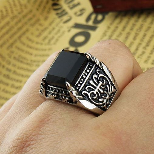 fashion punk rock anime game 361l stainless steel wedding bands rings with black onyx for men - Anime Wedding Rings