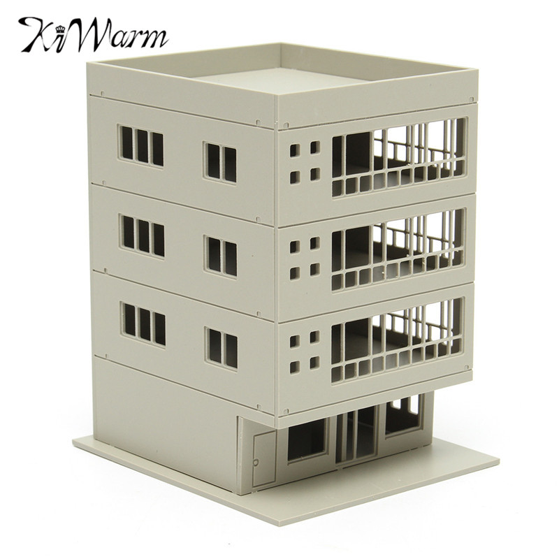 KiWarm Modern Design 1:160 Unpainted Scale Outland Models Railway Modern 4 Story Office Building DIY Home Ornament Decor|decoration design|decorative decorativedecorative home decor -