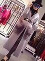Бренд Класса Люкс Норки кашемира Зимой Меха Лисы Карман Пальто 2016 женщины Лодыжки длина Мыс Теплый Шерстяной Жакет красный кардиган леди пальто
