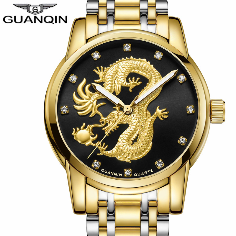 Mens Watches GUANQIN Top Brand Luxury Gold Dragon Sculpture Men Business Clock Stainless Steel Quartz Watch relogio masculino migeer relogio masculino luxury business wrist watches men top brand roman numerals stainless steel quartz watch mens clock zer